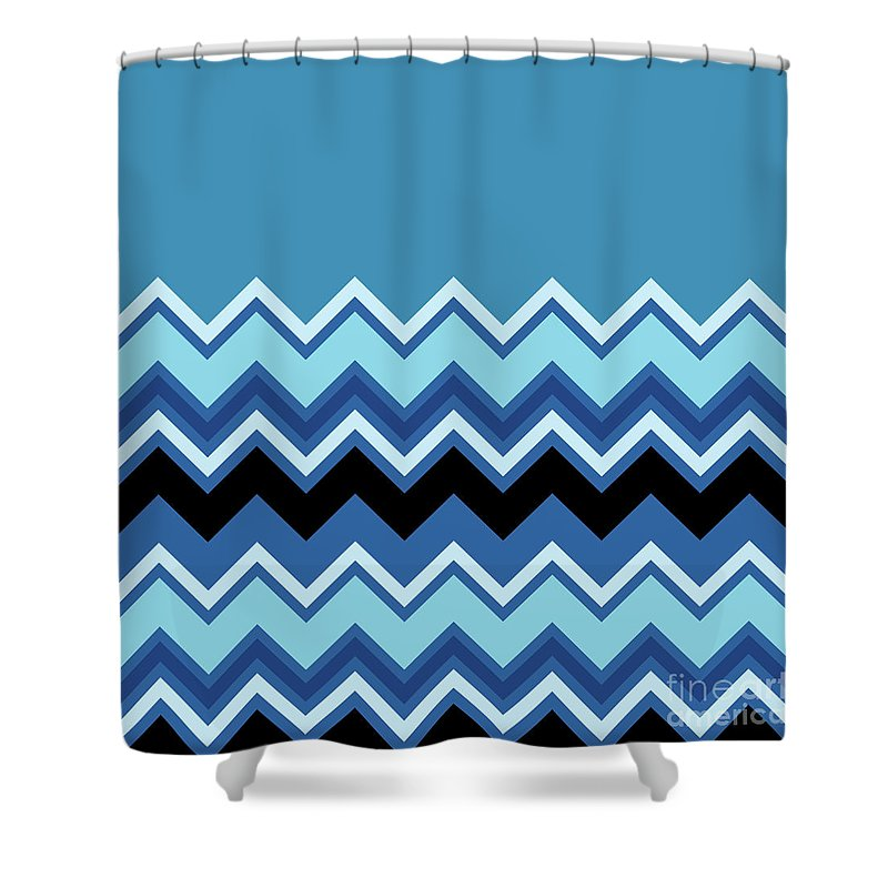 Chevron Summer Cobalt Sapphire Blue Black Zigzag Pattern Shower ...