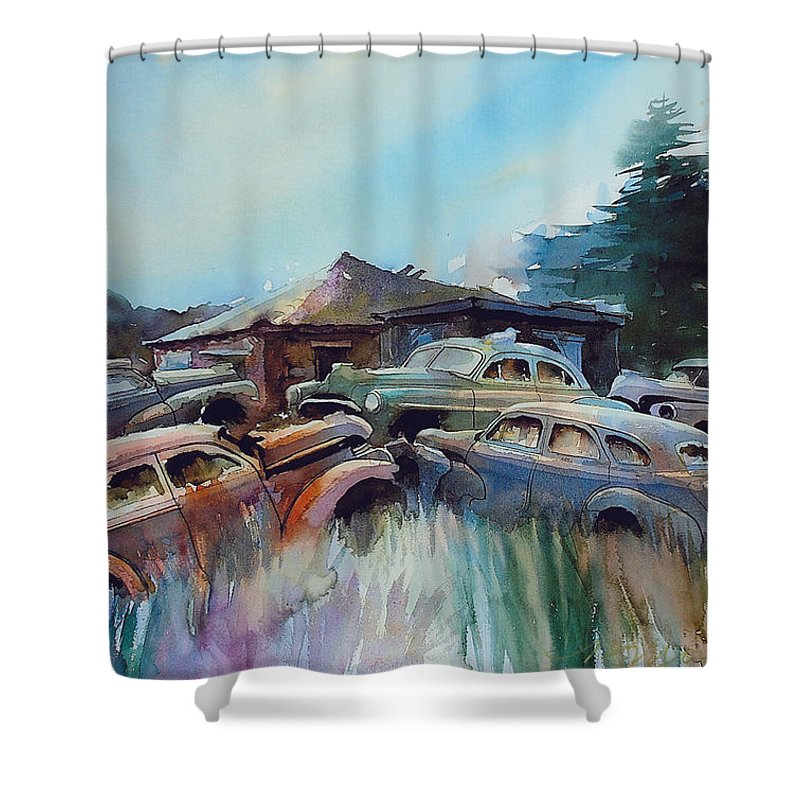 Chevs Shower Curtain featuring the painting Chevs on the Slide by Ron Morrison