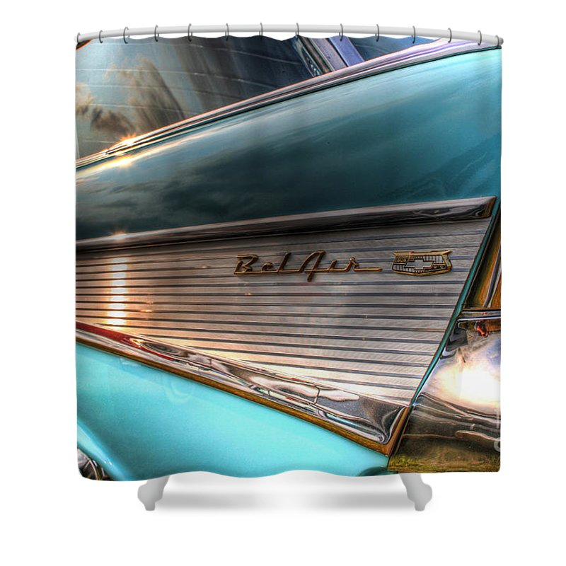 Chevy Shower Curtain featuring the photograph Chevy Bel Air by Joel Witmeyer