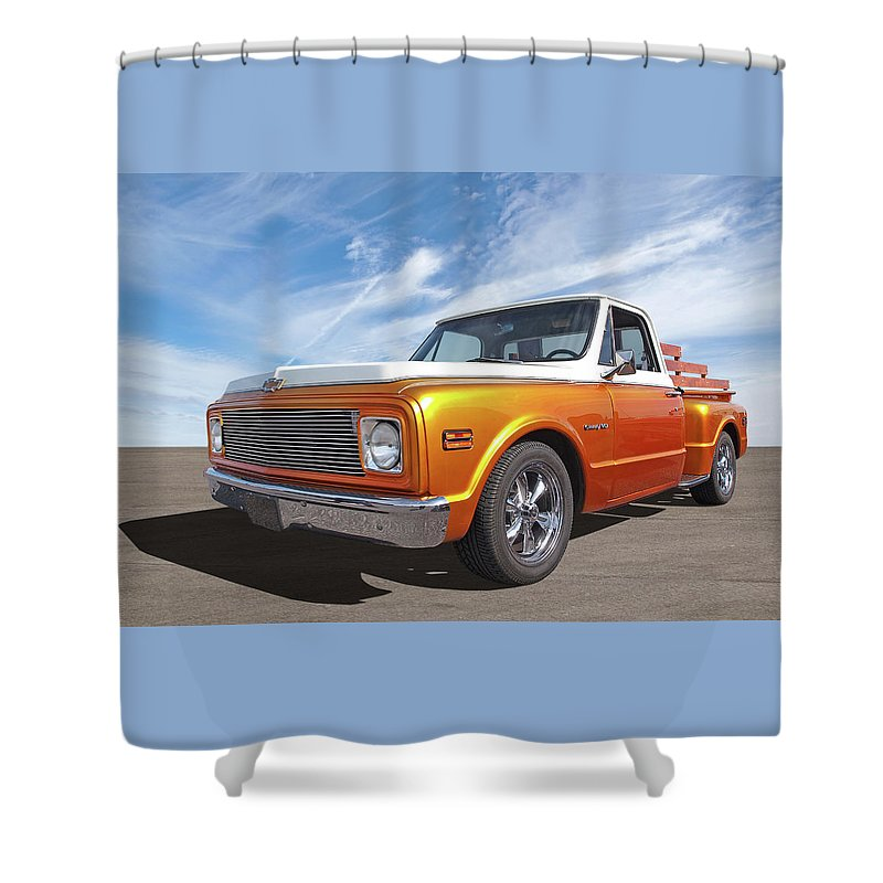 Chevrolet Truck Shower Curtain Featuring The Photograph Chevy Custom C10 Stepside By Gill Billington