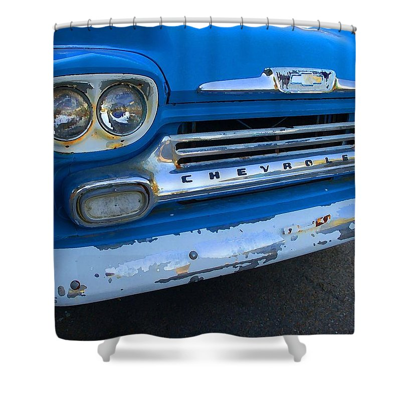 Fairhope Shower Curtain featuring the digital art Chevy Grill by Michael Thomas