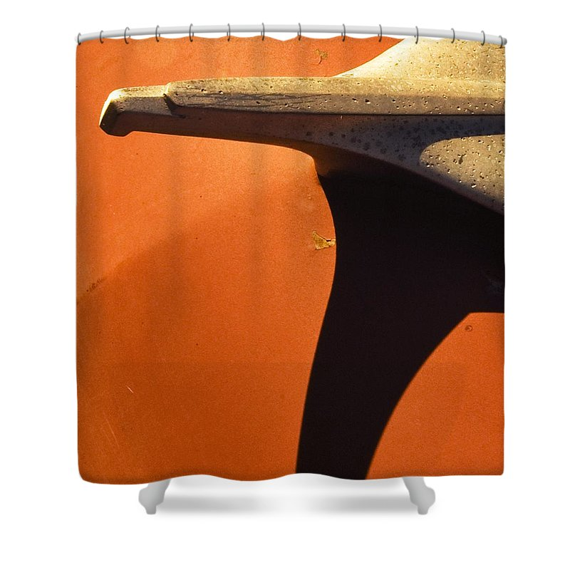 Classic Cars Shower Curtain featuring the photograph Chevy Hood Ornament by Norman Andrus