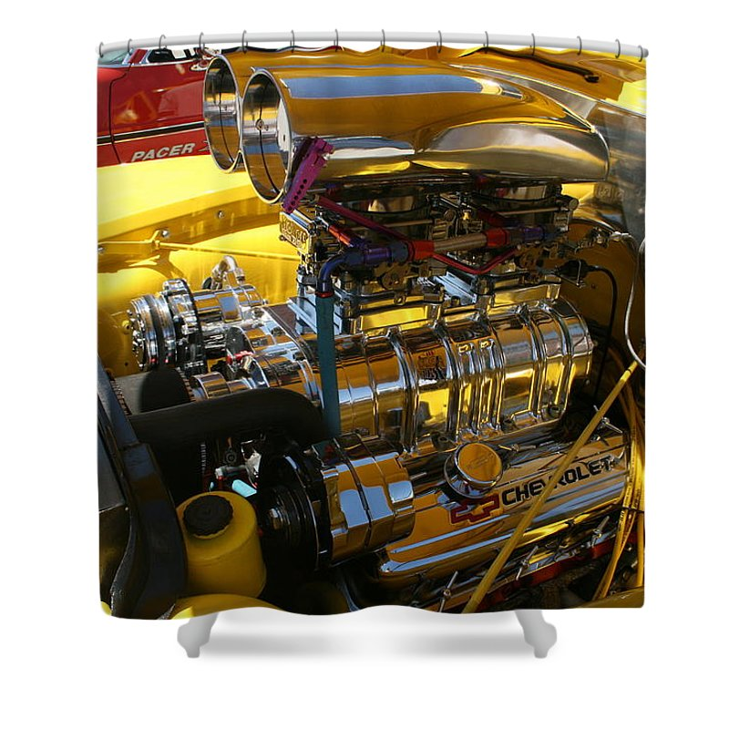 Motor Shower Curtain featuring the photograph Chevy Motor - Side View by Lynn Michelle