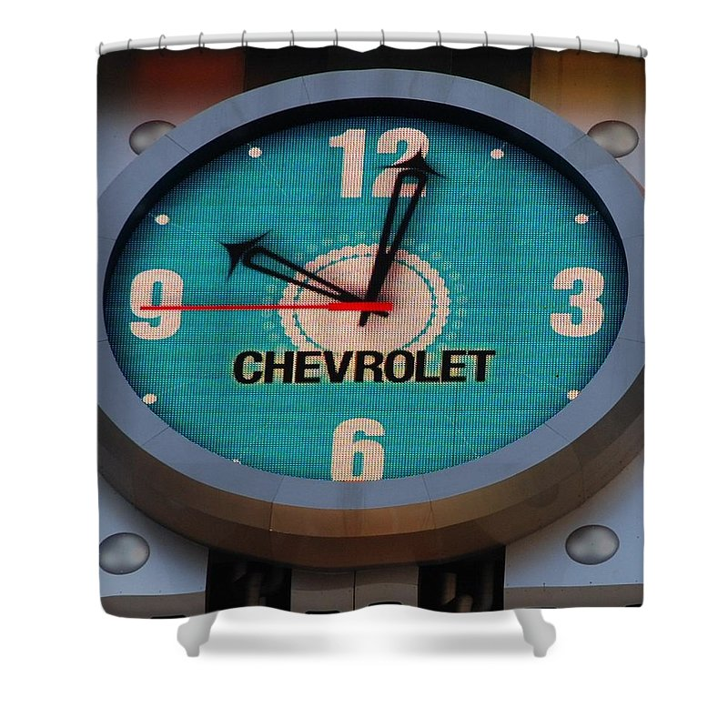 Clock Shower Curtain featuring the photograph Chevy Neon Clock by Rob Hans