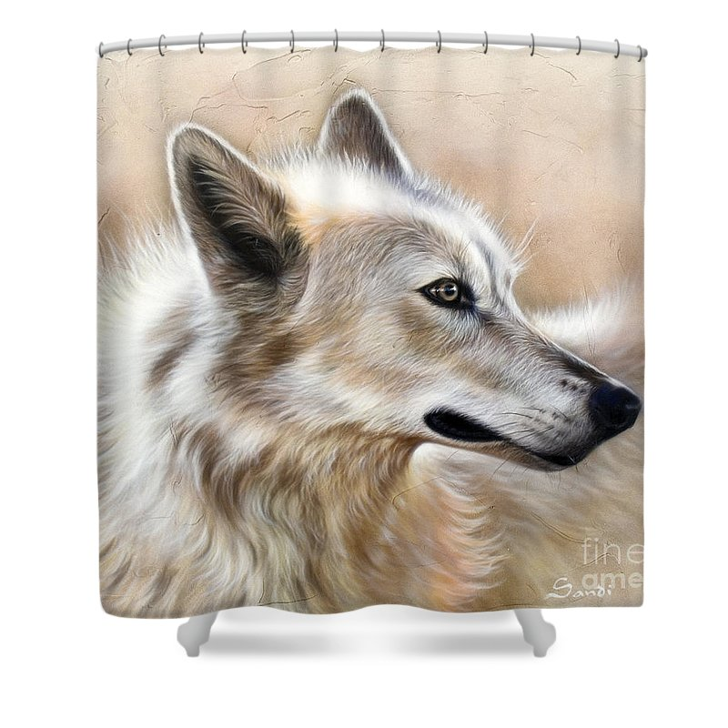 Acrylic Shower Curtain featuring the painting Cheyenne by Sandi Baker