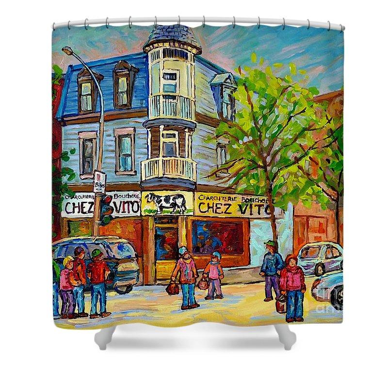 Montreal Shower Curtain featuring the painting Chez Vito Rue Fairmount Landmark Architecture Beautiful Summer Scene Montreal 375 Carole Spandau Art by Carole Spandau