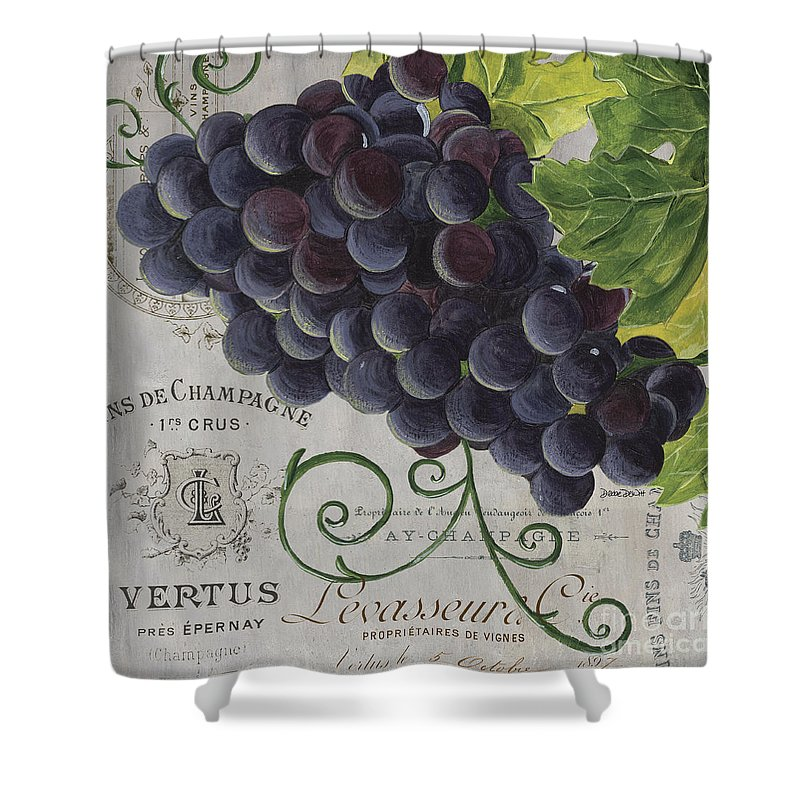 Grapes Shower Curtain featuring the painting Vins de Champagne 2 by Debbie DeWitt