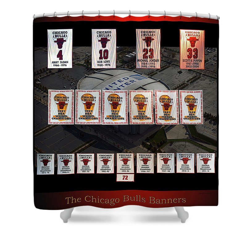 Chicago Bulls Shower Curtain Featuring The Mixed Media Banners Collage By Thomas Woolworth