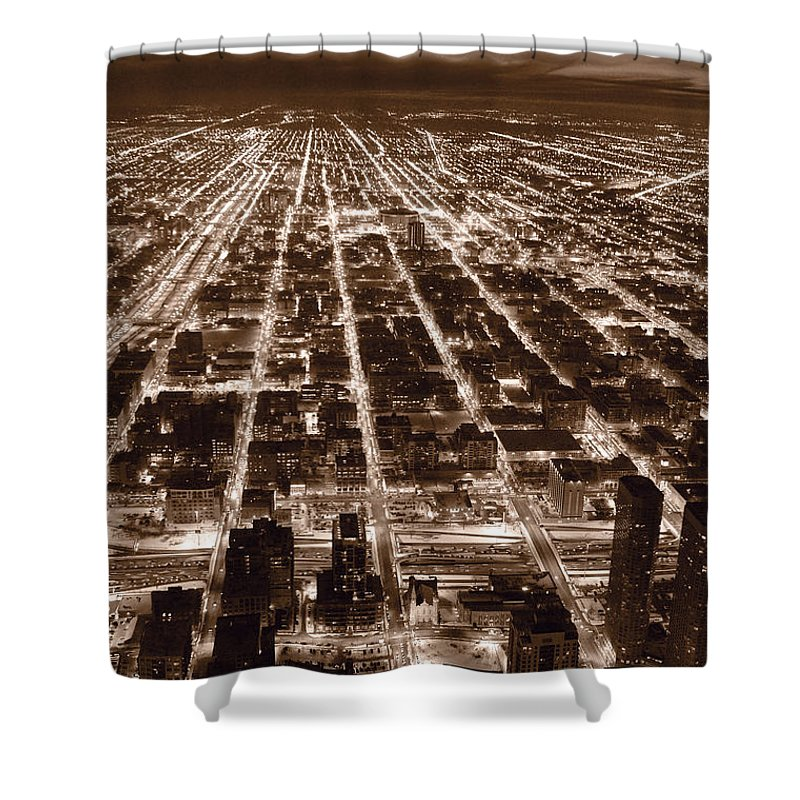 Aerial Shower Curtain featuring the photograph Chicago City Lights West B W by Steve Gadomski