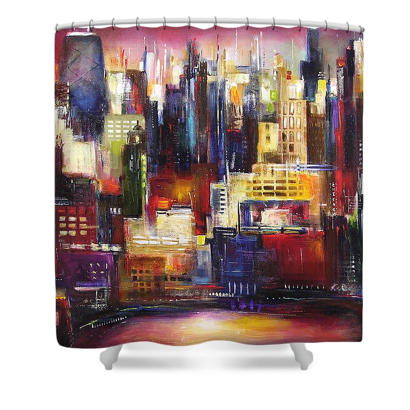 Chicago Art Shower Curtain featuring the painting Chicago City View by Kathleen Patrick
