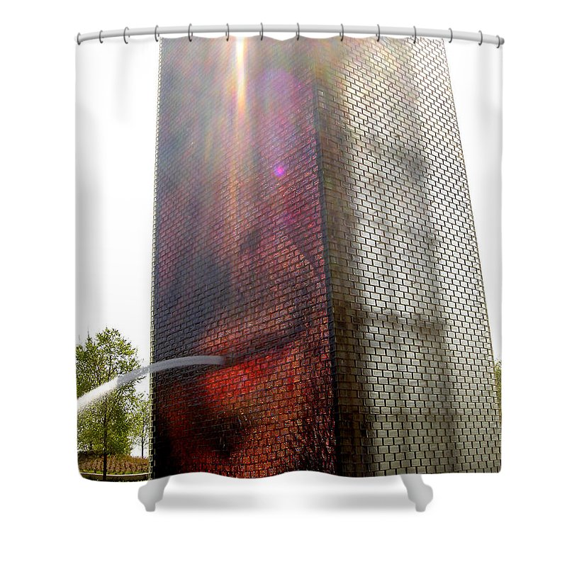 Chicago Shower Curtain featuring the photograph Chicago Crown Fountain 4 by Jean Macaluso