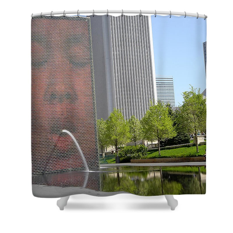 Chicago Shower Curtain featuring the photograph Chicago Crown Fountain 8 by Jean Macaluso