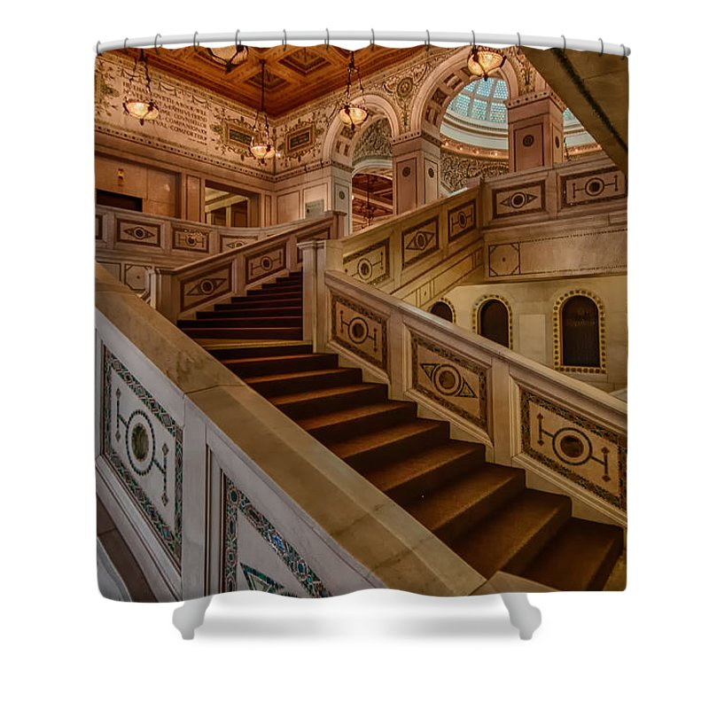 Chicago Cultural Center Shower Curtain featuring the photograph Chicago Cultural Center Stairs by Mike Burgquist