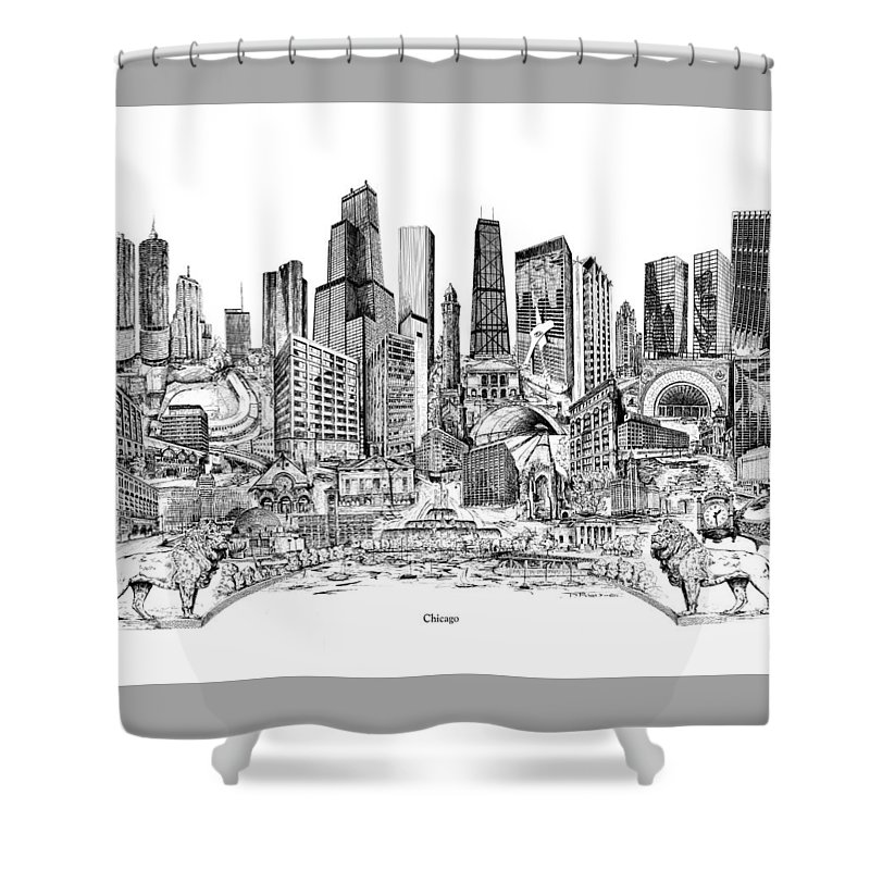 City Drawing Shower Curtain featuring the drawing Chicago by Dennis Bivens