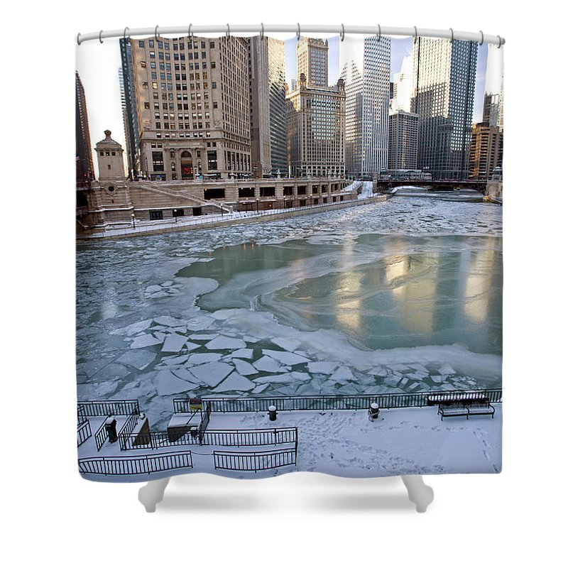 Chicago Shower Curtain featuring the digital art Chicago Downtown City Night Photography Wrigley Square by Mark Duffy