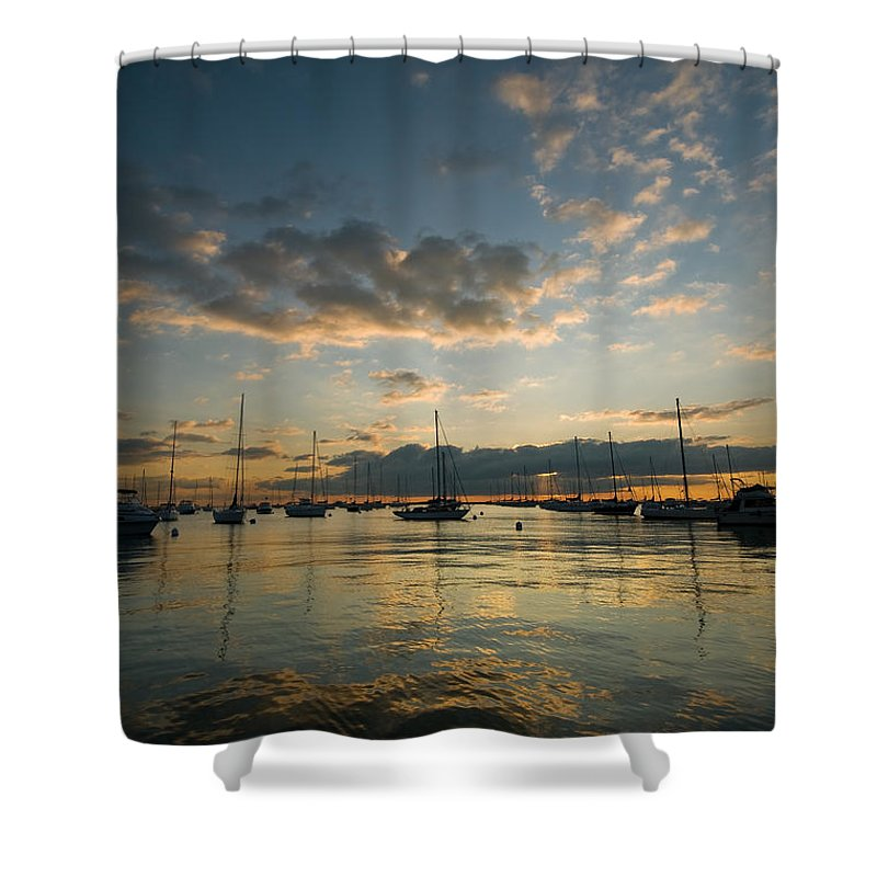 Boat Shower Curtain featuring the photograph Chicago Harbor Sunrise by Steve Gadomski