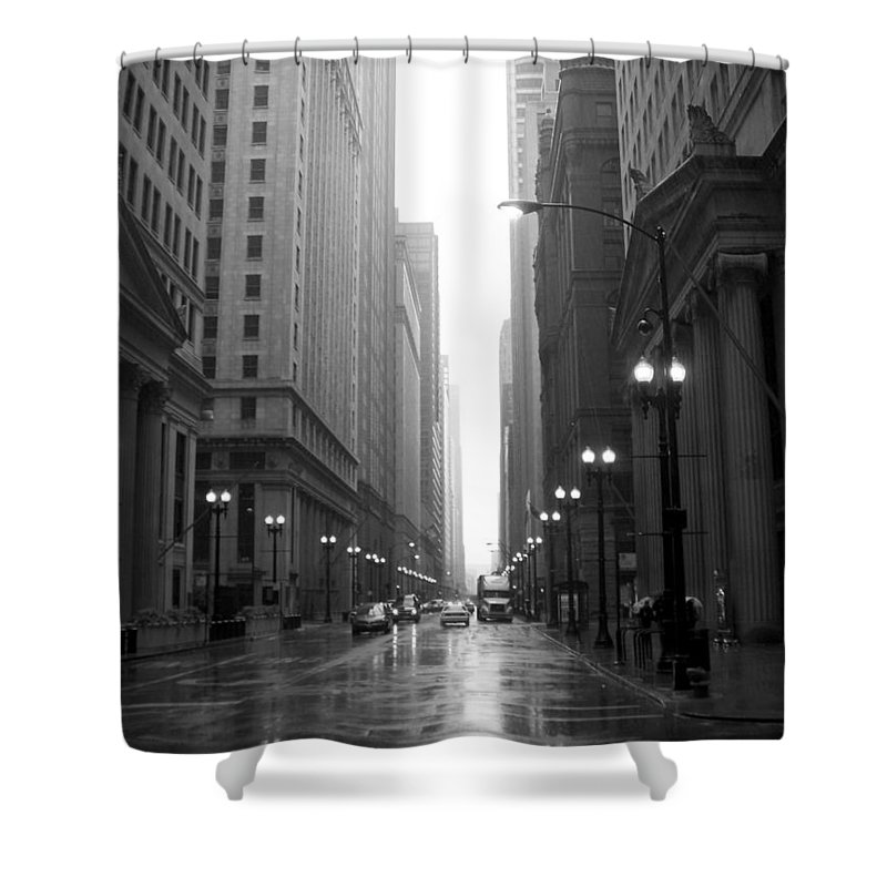 Chicago Shower Curtain featuring the photograph Chicago In The Rain 2 B-w by Anita Burgermeister