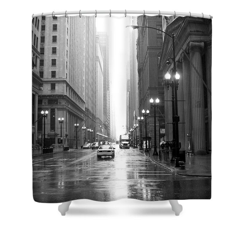 Chicago Shower Curtain featuring the photograph Chicago In The Rain B-w by Anita Burgermeister