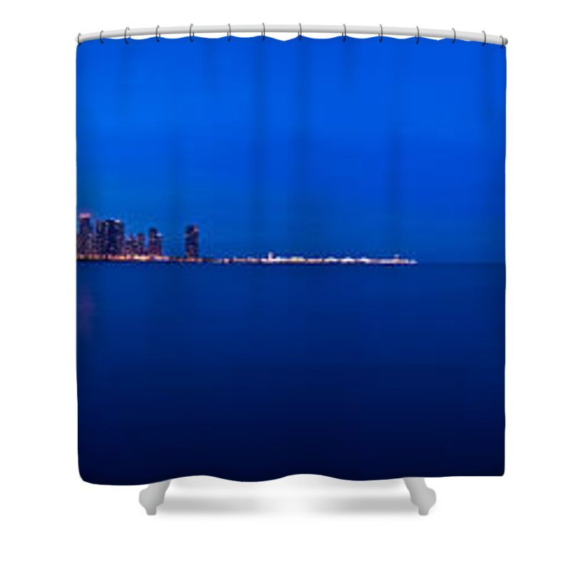 Architecture Shower Curtain featuring the photograph Chicago Lakefront Ultra Wide Hd by Steve Gadomski