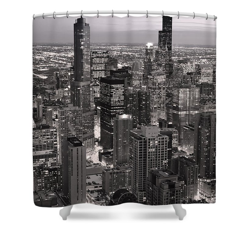 Aerial Shower Curtain featuring the photograph Chicago Loop Sundown B And W by Steve Gadomski