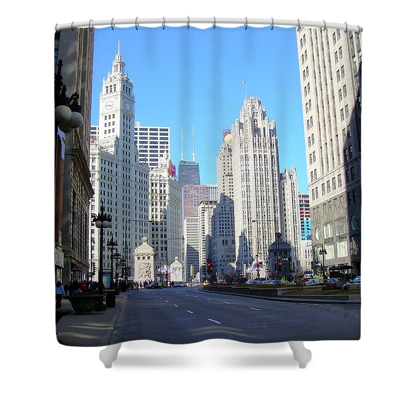 Chicago Shower Curtain featuring the photograph Chicago Miracle Mile by Anita Burgermeister