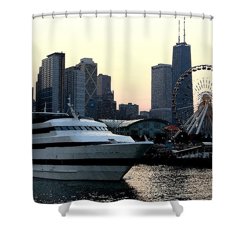 Photo Shower Curtain featuring the photograph Chicago Navy Pier by Glory Fraulein Wolfe