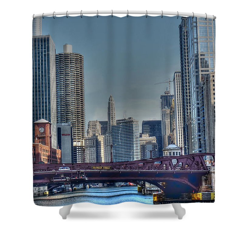 Chicago Illinois Shower Curtain featuring the photograph Chicago River East by David Bearden