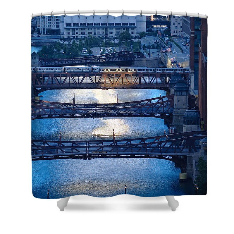 Bridge Shower Curtain featuring the photograph Chicago River First Light by Steve Gadomski