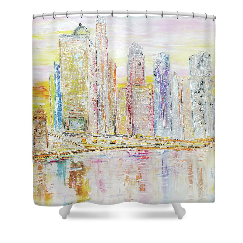 City Shower Curtain featuring the painting Chicago River Skyline by Ken Wood