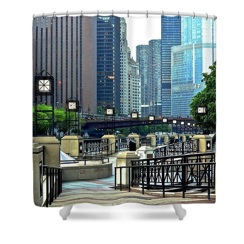 Chicago Shower Curtain featuring the photograph Chicago River Walk Invites You by Frozen in Time Fine Art Photography
