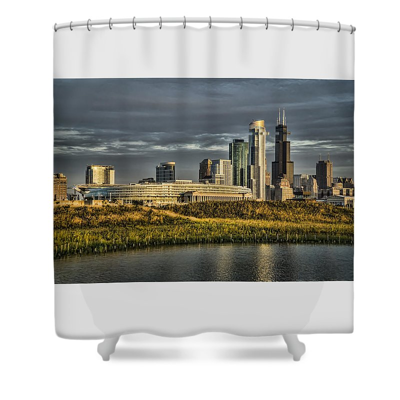Chicago Shower Curtain featuring the photograph Chicago Skyline And Nature Preserve At Sunrise by Sven Brogren