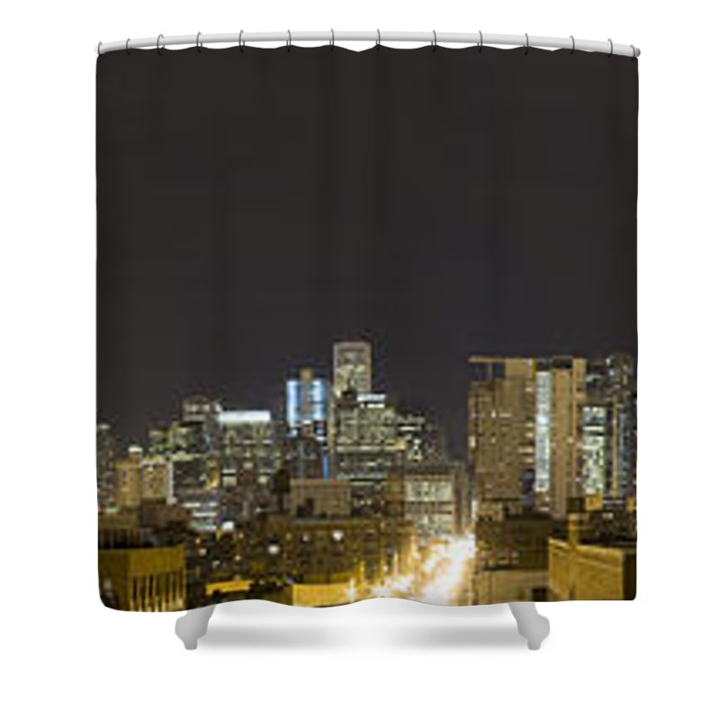 City Sky Skyline Wind Windy Windycity Il Chicago Night Dark Light Lights Street Building Tall House Shower Curtain featuring the photograph Chicago Skyline by Andrei Shliakhau