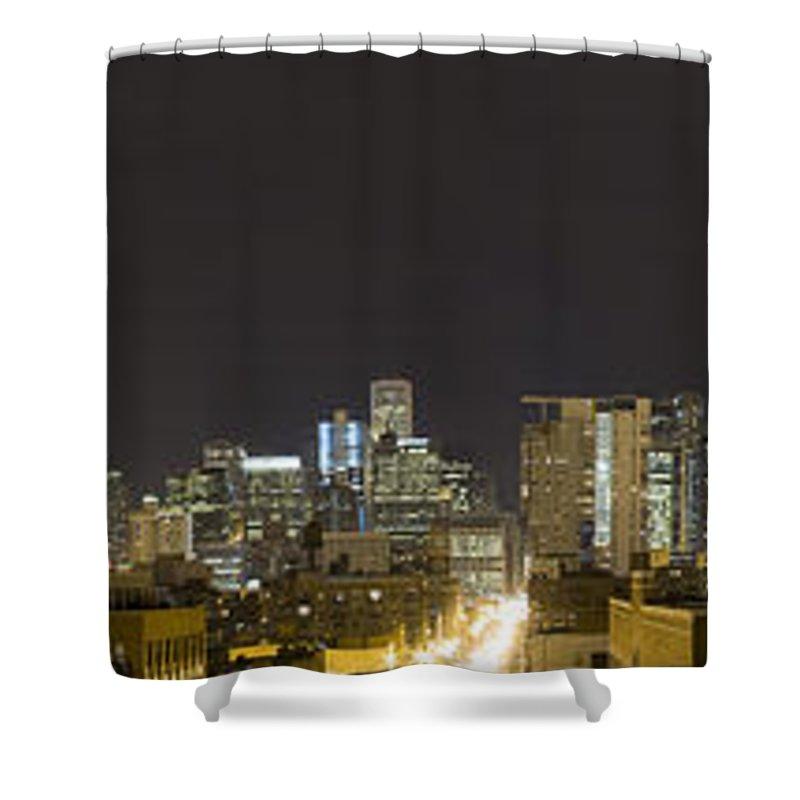 City Sky Skyline Wind Windy Windycity Il Chicago Night Dark Light Lights Street Building Tall House Shower Curtain featuring the photograph Chicago Skyline by Andrei Shliakhau