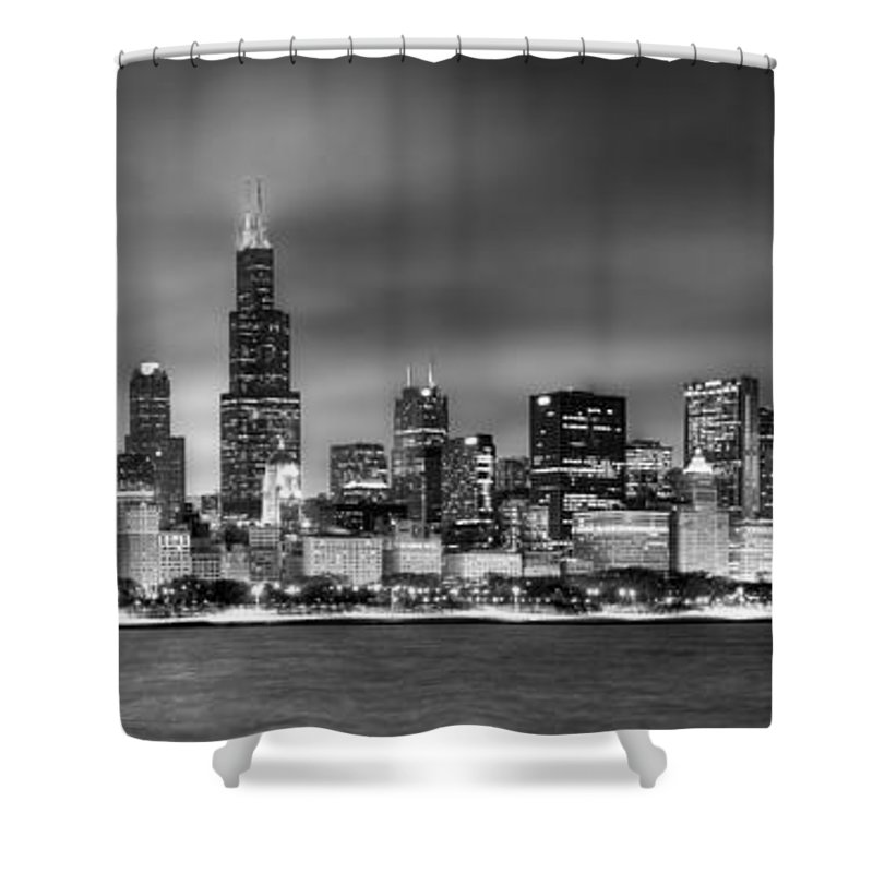 Chicago Skyline Shower Curtain featuring the photograph Chicago Skyline At Night Black And White by Jon Holiday