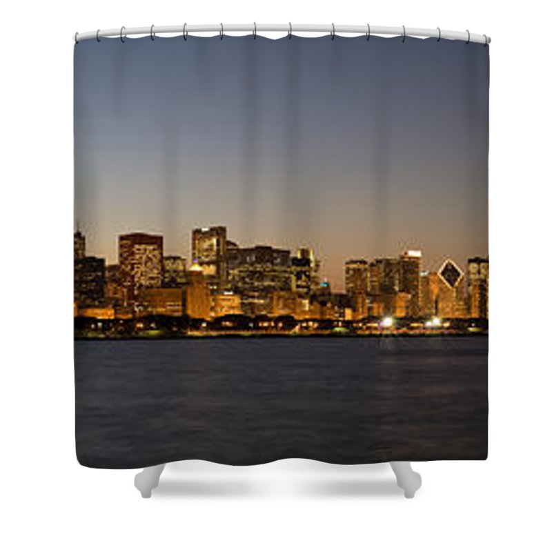 Chicago Shower Curtain featuring the photograph Chicago Skyline Panorama by Steve Gadomski