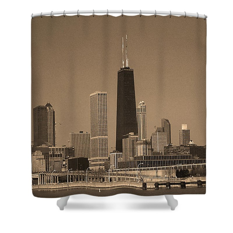 America Shower Curtain featuring the photograph Chicago Skyline Sepia #10 by Frank Romeo
