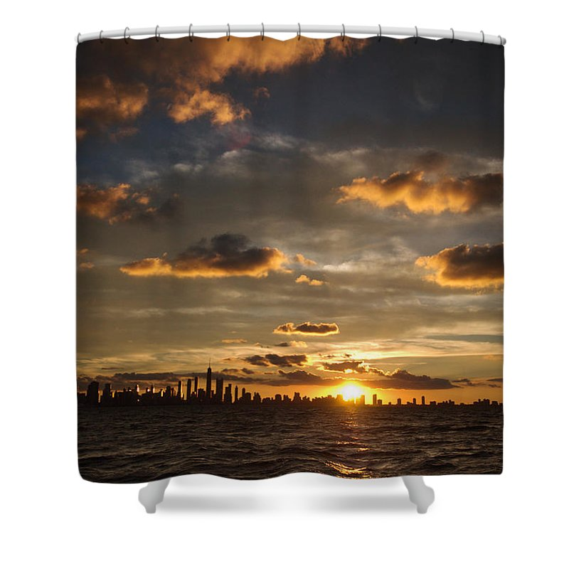 Boat Shower Curtain featuring the photograph Chicago Skyline Sunset by Steve Gadomski