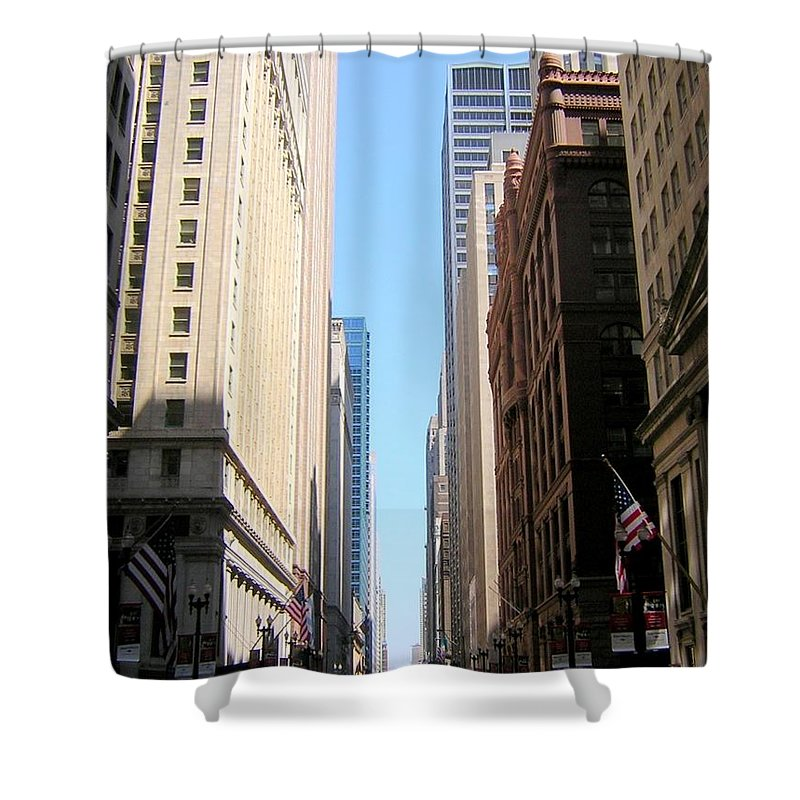Chicago Shower Curtain featuring the photograph Chicago Street With Flags by Anita Burgermeister