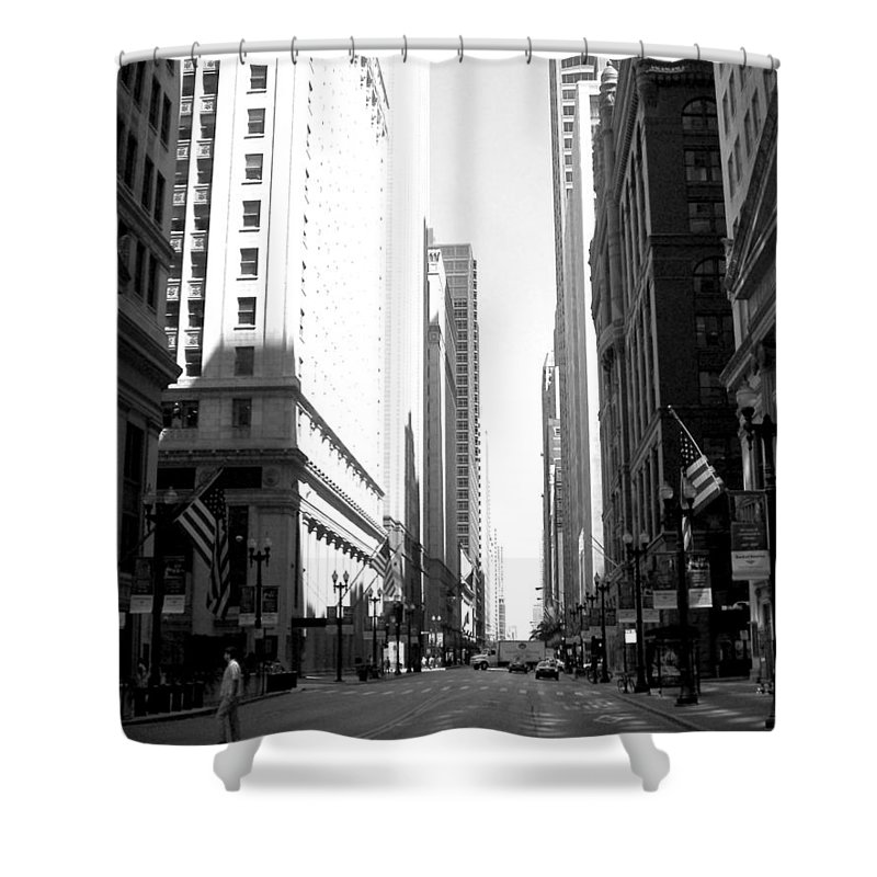Chicago Shower Curtain featuring the photograph Chicago Street With Flags B-w by Anita Burgermeister