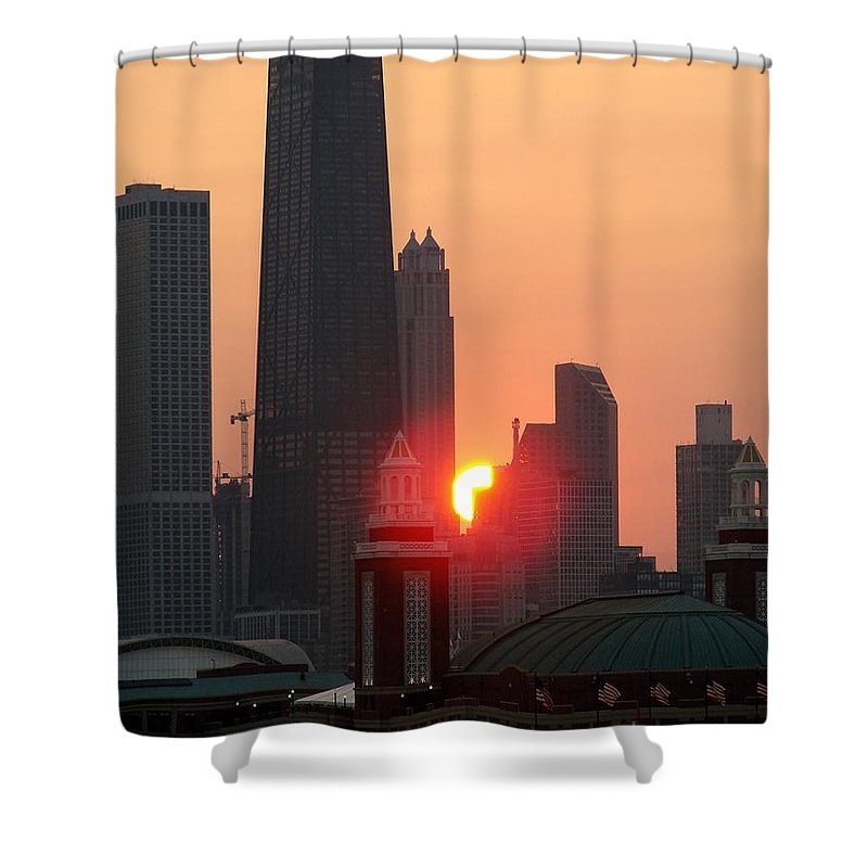 Photography Shower Curtain featuring the photograph Chicago Sunset by Glory Fraulein Wolfe