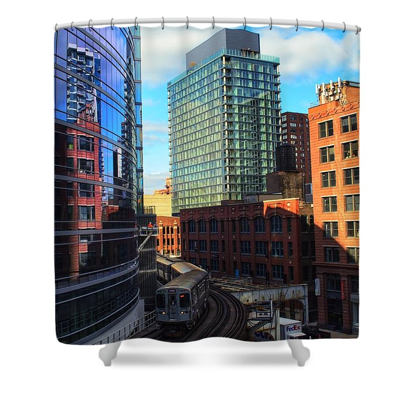 Chicago Shower Curtain featuring the photograph Chicago Train by Joseph Caban