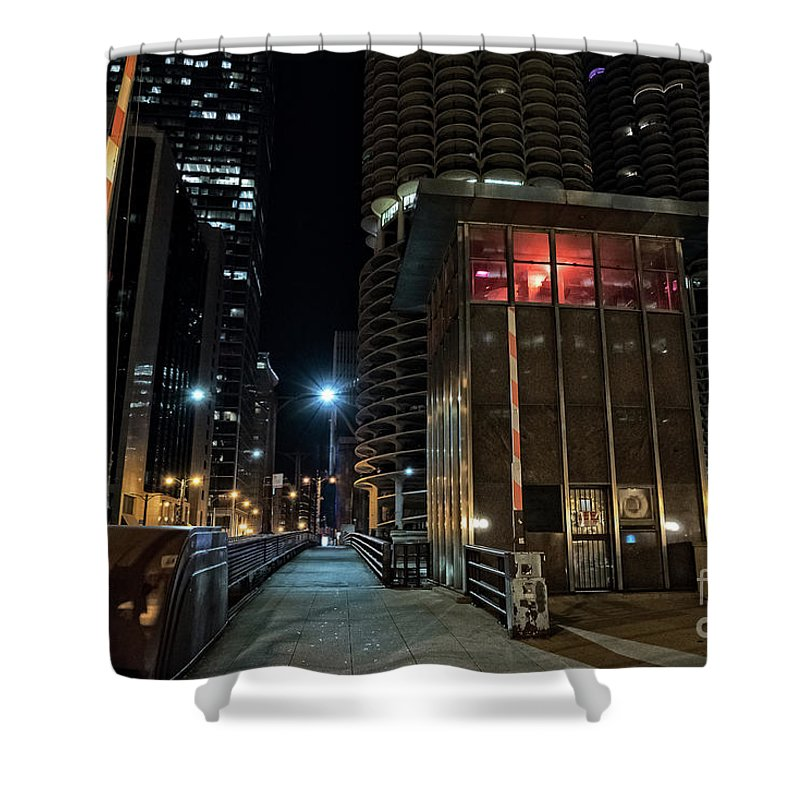 Night Shower Curtain featuring the photograph Chicago Urban Vintage River Drawbridge With Tender House At Night by Bruno Passigatti