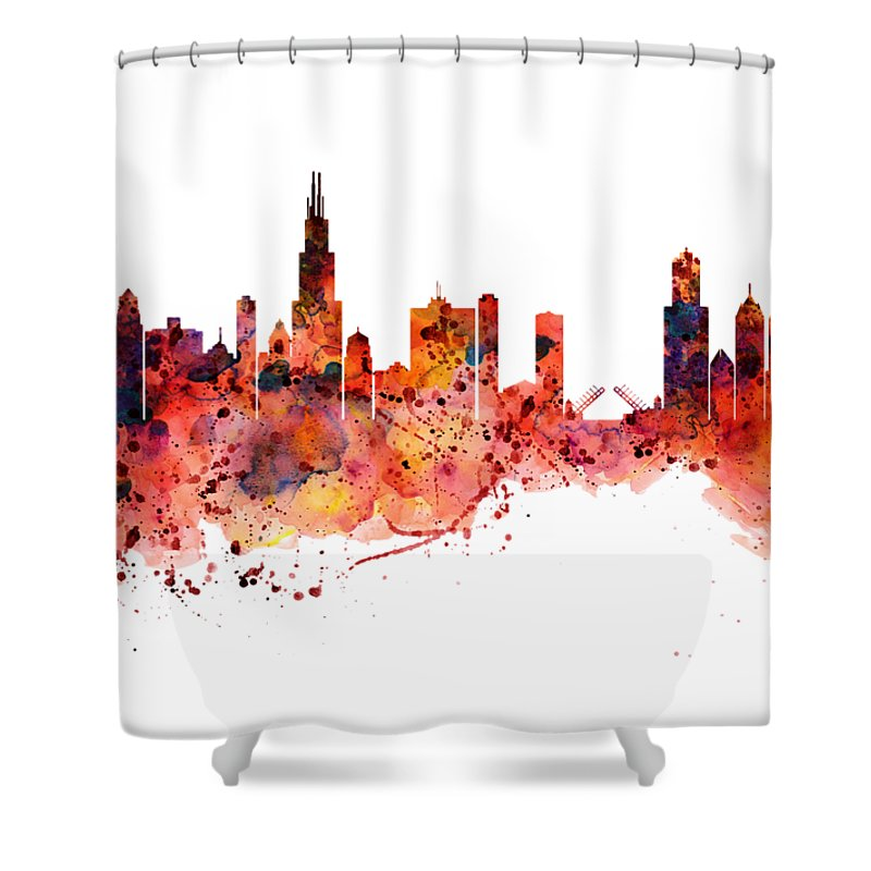 Chicago Watercolor Skyline Shower Curtain For Sale By Marian Voicu