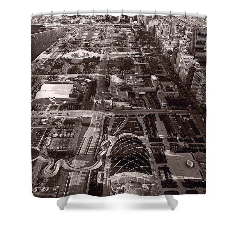 Aerial Shower Curtain featuring the photograph Chicagos Front Yard B W by Steve Gadomski