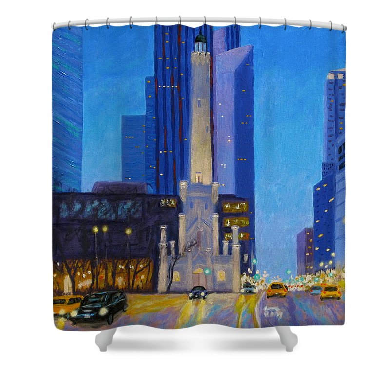 Chicago Art Shower Curtain featuring the painting Chicago's Water Tower At Dusk by J Loren Reedy