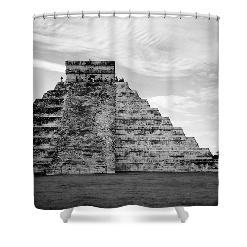 Mexico Shower Curtain featuring the photograph Chichen Itza B-w by Anita Burgermeister