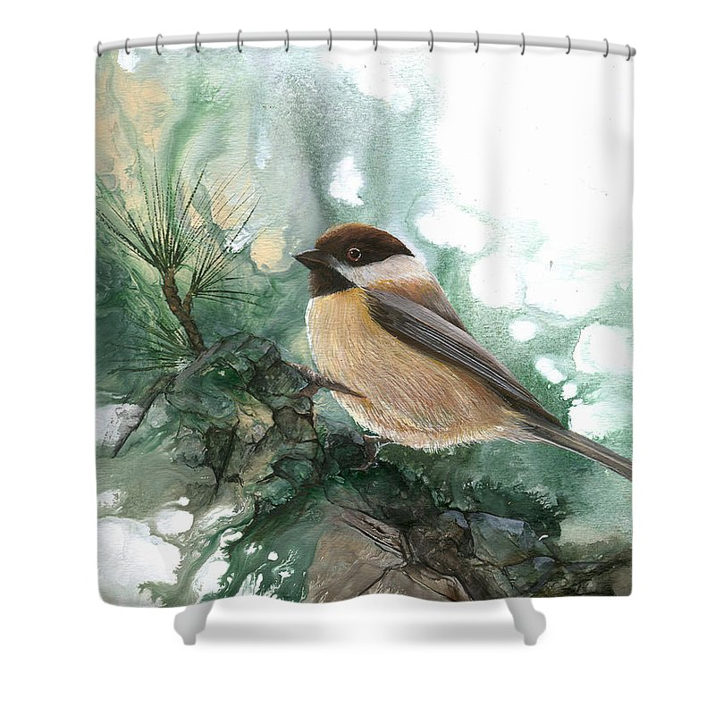 Bird Shower Curtain featuring the painting Chickadee by Sherry Shipley