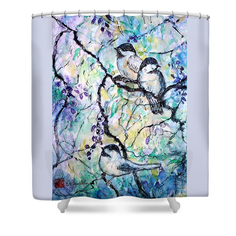 Birds Shower Curtain featuring the painting Chickadees by Norma Boeckler