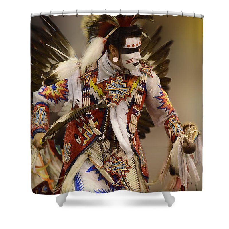 Pow Wow Shower Curtain featuring the photograph Pow Wow Chicken Dancer 12 by Bob Christopher
