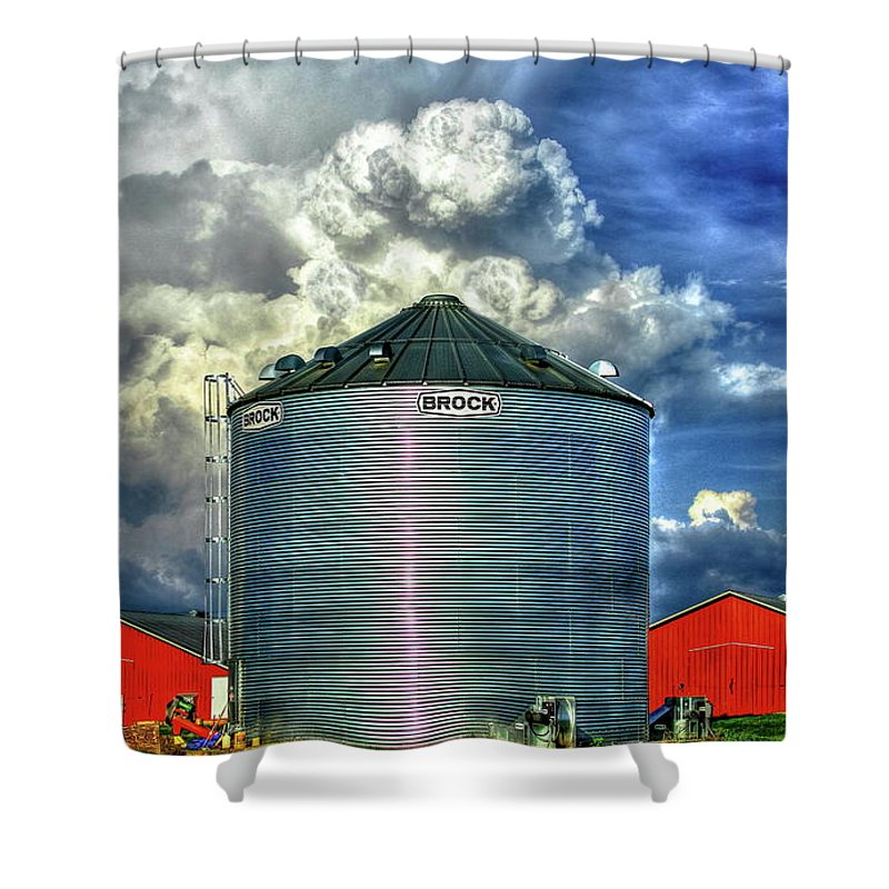 Reid Callaway Sky Shower Curtain featuring the photograph Chicken Feed Other Worldly Sky Art by Reid Callaway